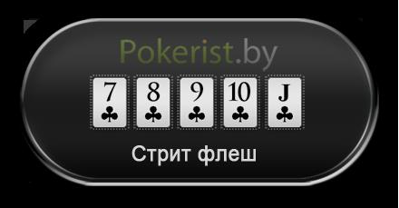 Комбинации в покере: стрит флеш (Straight flush)