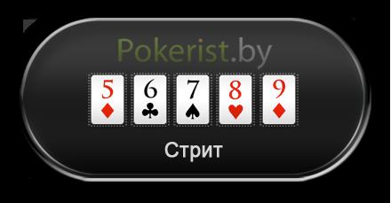 Комбинации в покере: стрейт или стрит (Straight)