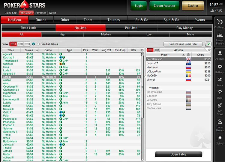 Вид лобби PokerStars 7