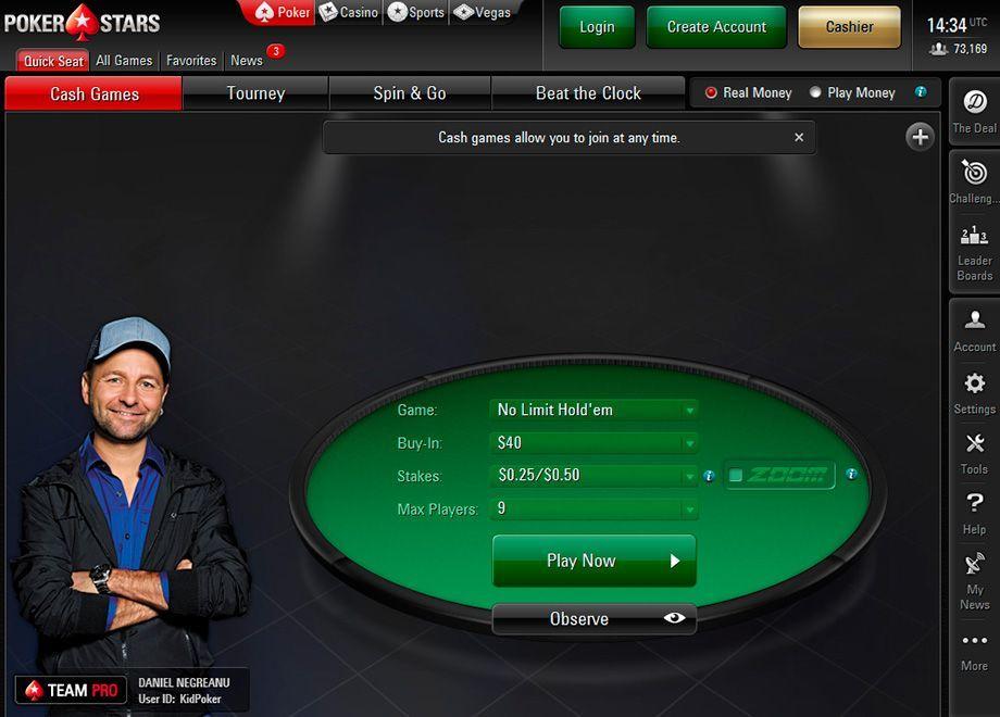 Внешний обличие игрового лобби нового клиента PokerStars